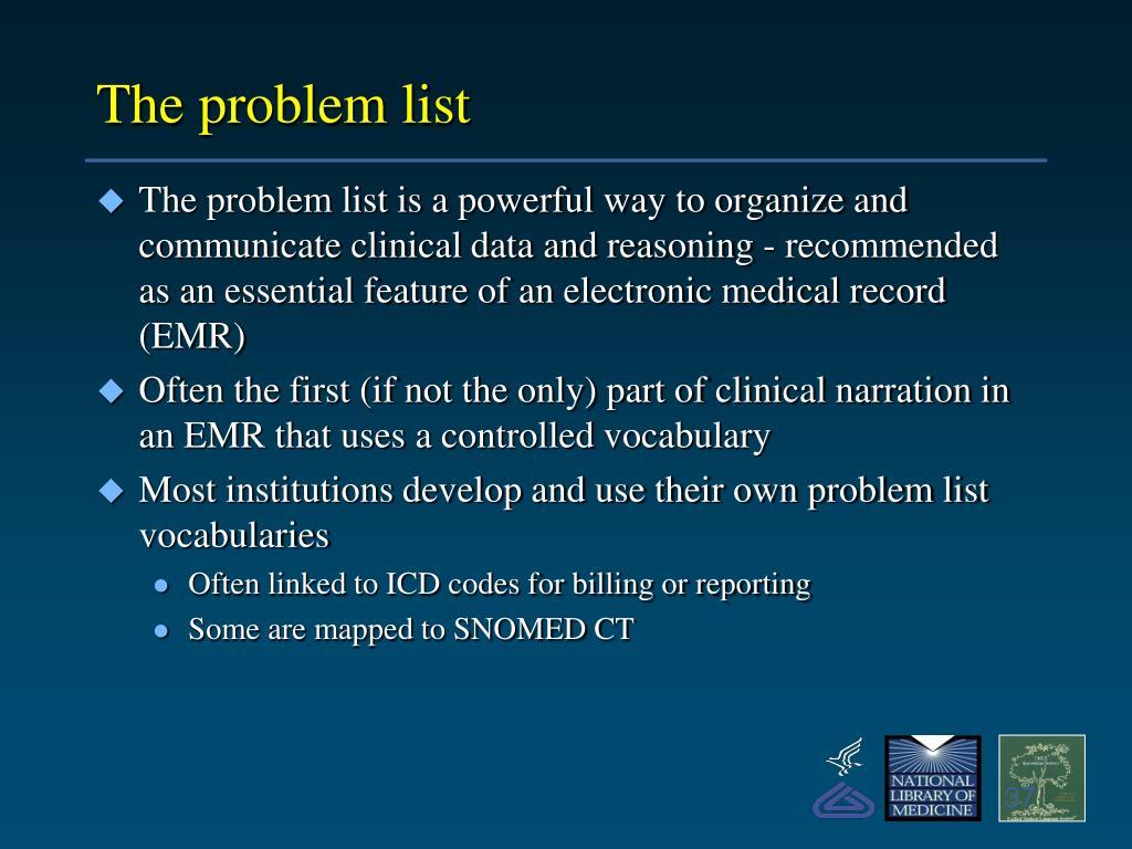 The problem list