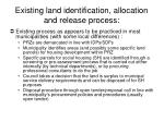 existing land identification allocation and release process
