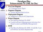 paradigm plus enhancements to uml for doc