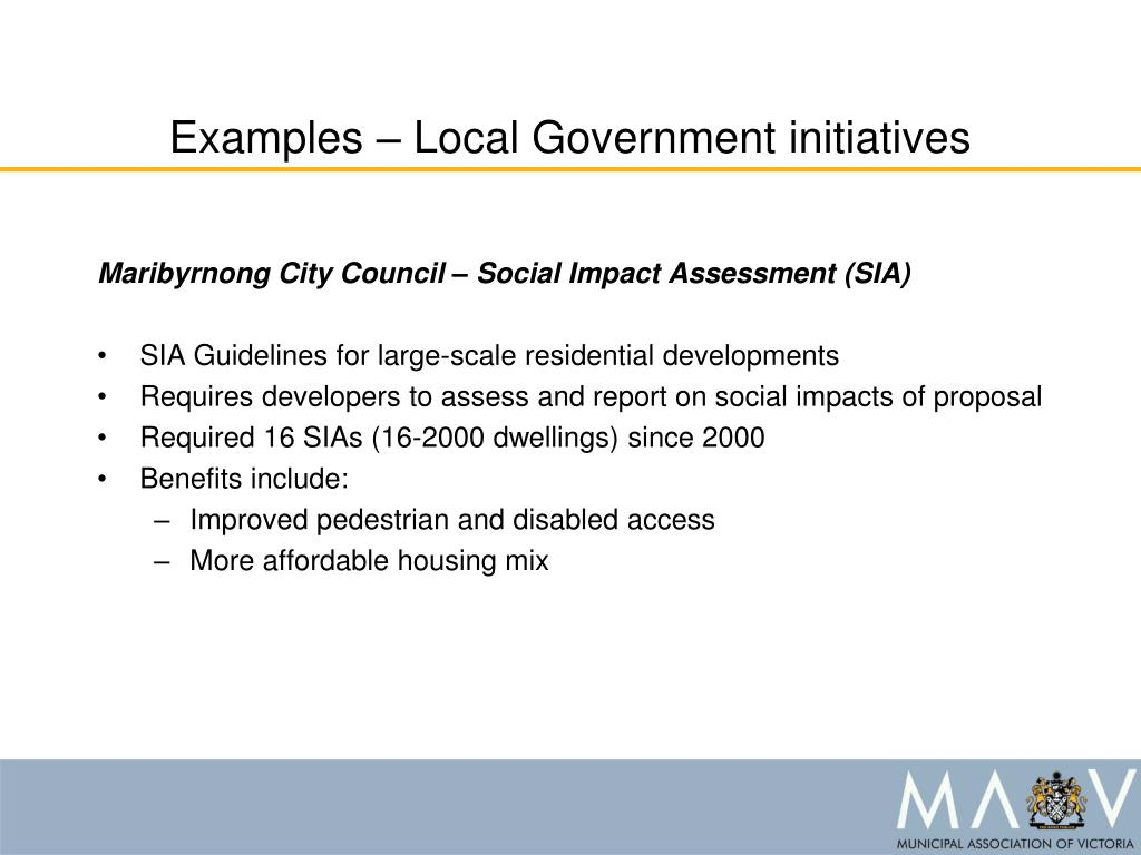Examples – Local Government initiatives