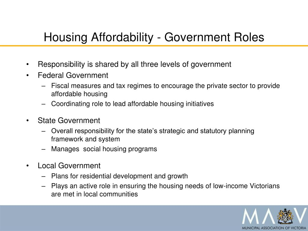 Housing Affordability - Government Roles