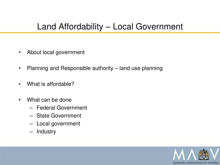 Land affordability local government