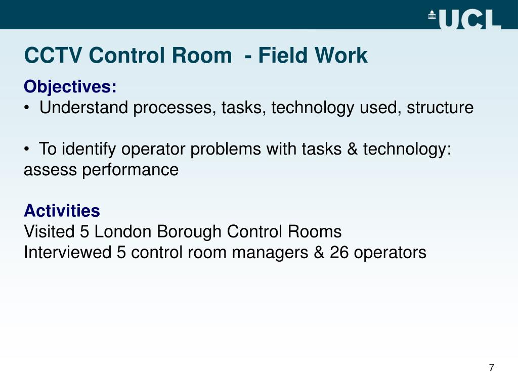 CCTV Control Room  - Field Work