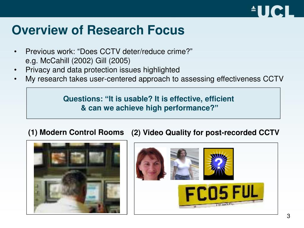 "Previous work: ""Does CCTV deter/reduce crime?"""