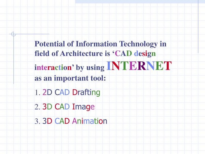 Potential of Information Technology in field of Architecture is '