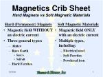 magnetics crib sheet hard magnets vs soft magnetic materials