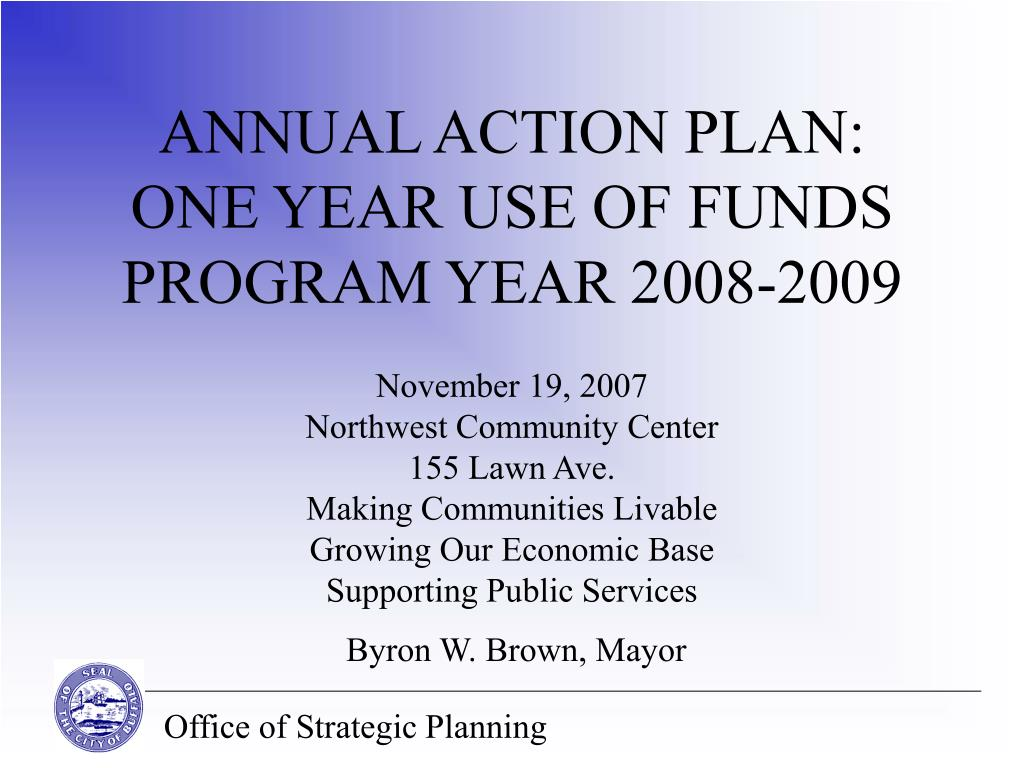 annual action plan one year use of funds program year 2008 2009 l.