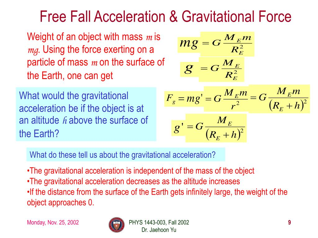 Free Fall Acceleration & Gravitational Force