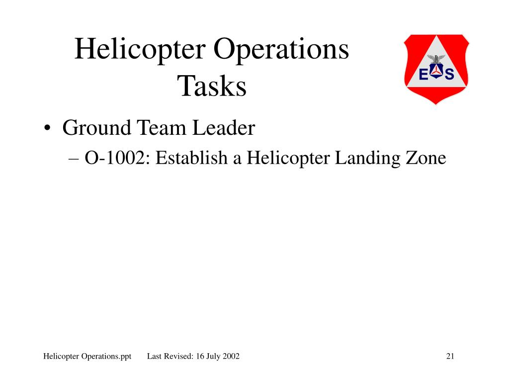 Helicopter Operations Tasks