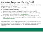 anti virus response faculty staff