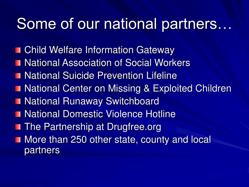 Some of our national partners…