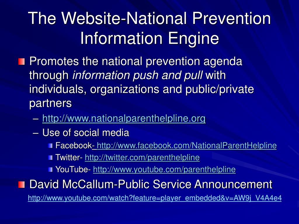 The Website-National Prevention Information Engine