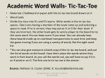academic word walls tic tac toe