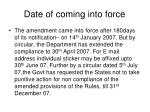 date of coming into force