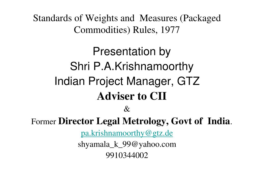 standards of weights and measures packaged commodities rules 1977 l.