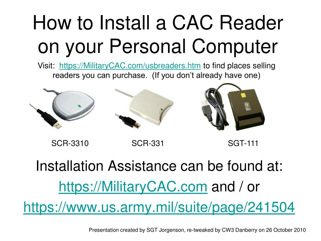 how to install a cac reader on your personal computer l.