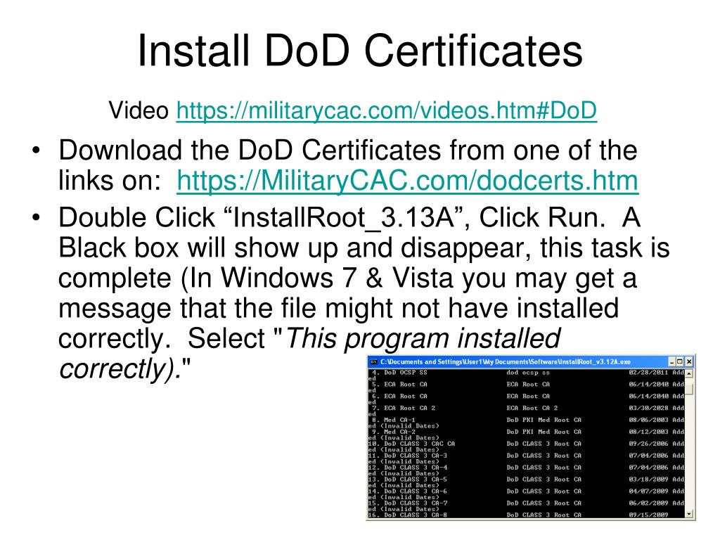 install cac certificates reader computer personal dod ako ppt powerpoint presentation links