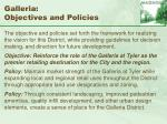 galleria objectives and policies