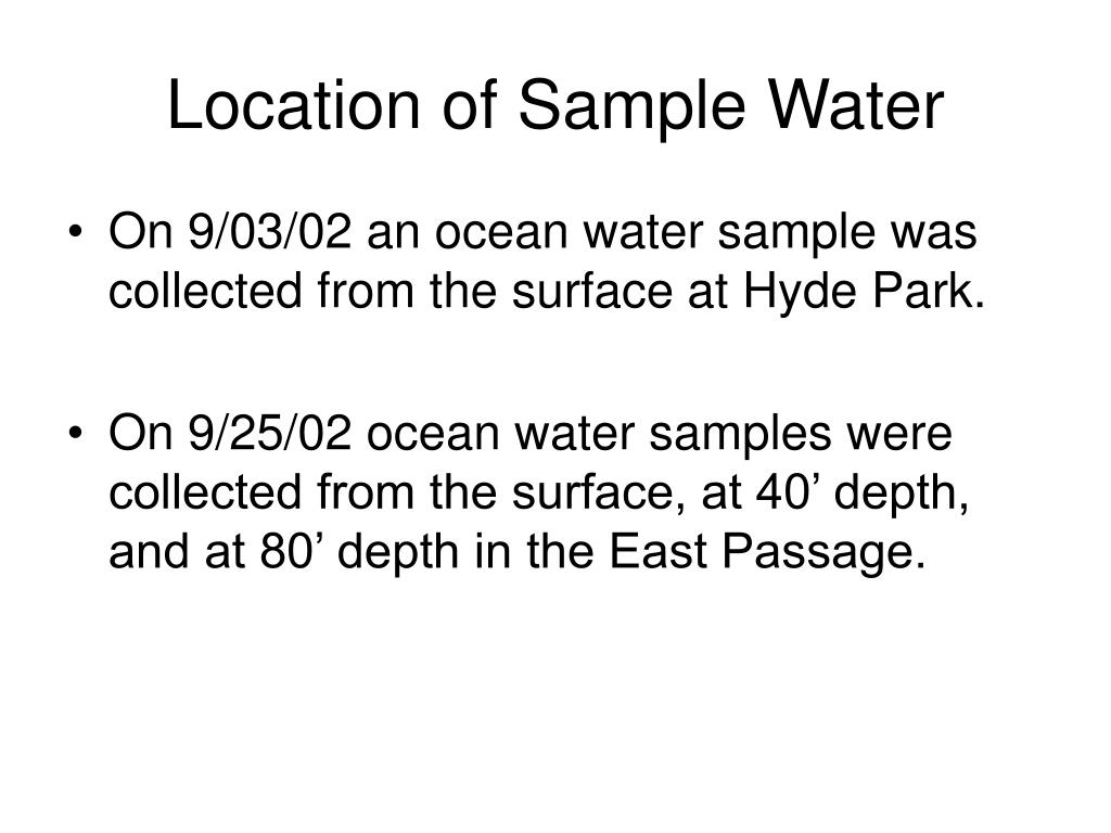 Location of Sample Water
