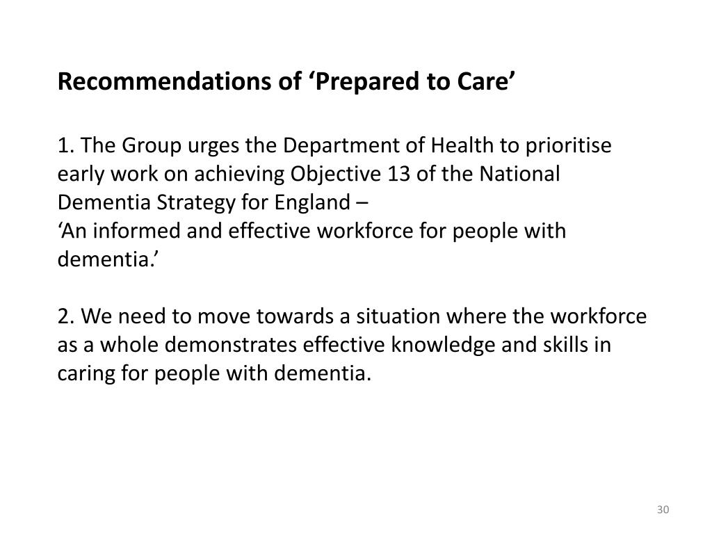 Recommendations of 'Prepared to Care'