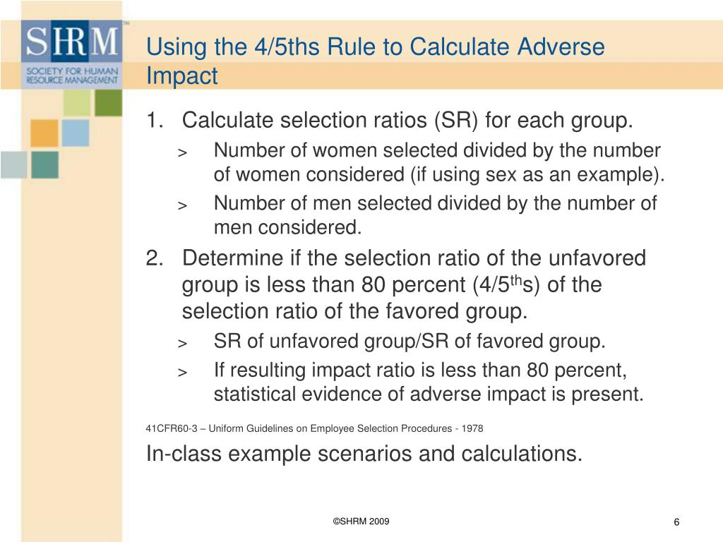 Using the 4/5ths Rule to Calculate Adverse Impact