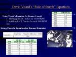 david visard s rule of thumb equations