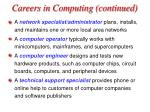 careers in computing continued