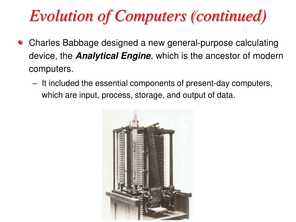 evolution of computers Evolution of computers : a computer is an electronic device used for storing and processing datafirst electronic computer was built by dr john vincent.