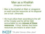 man as a khalifah vicegerent and slave