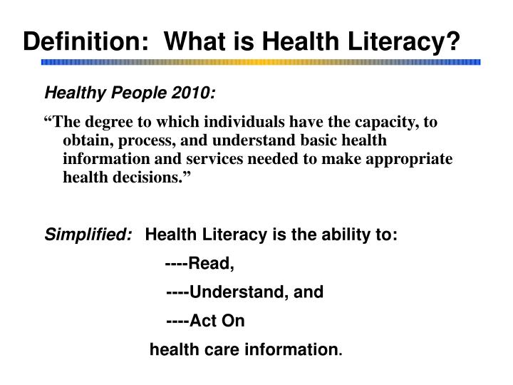 Definition what is health literacy