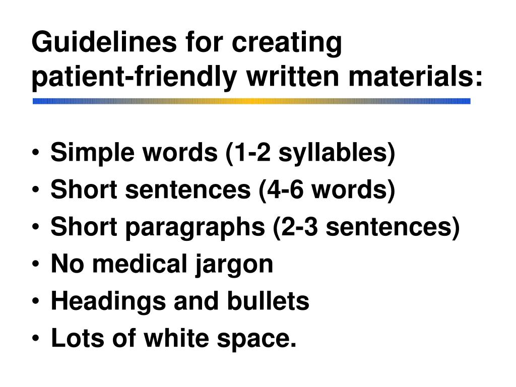 Guidelines for creating