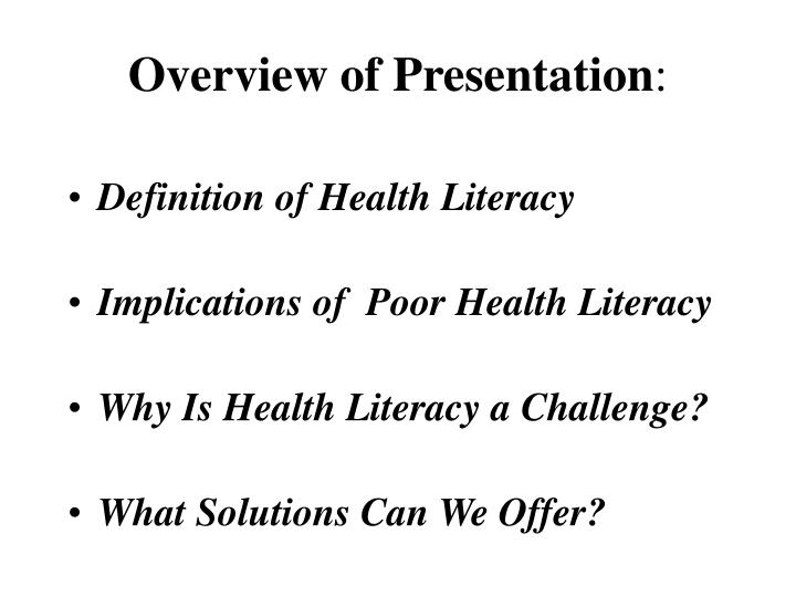 Overview of presentation