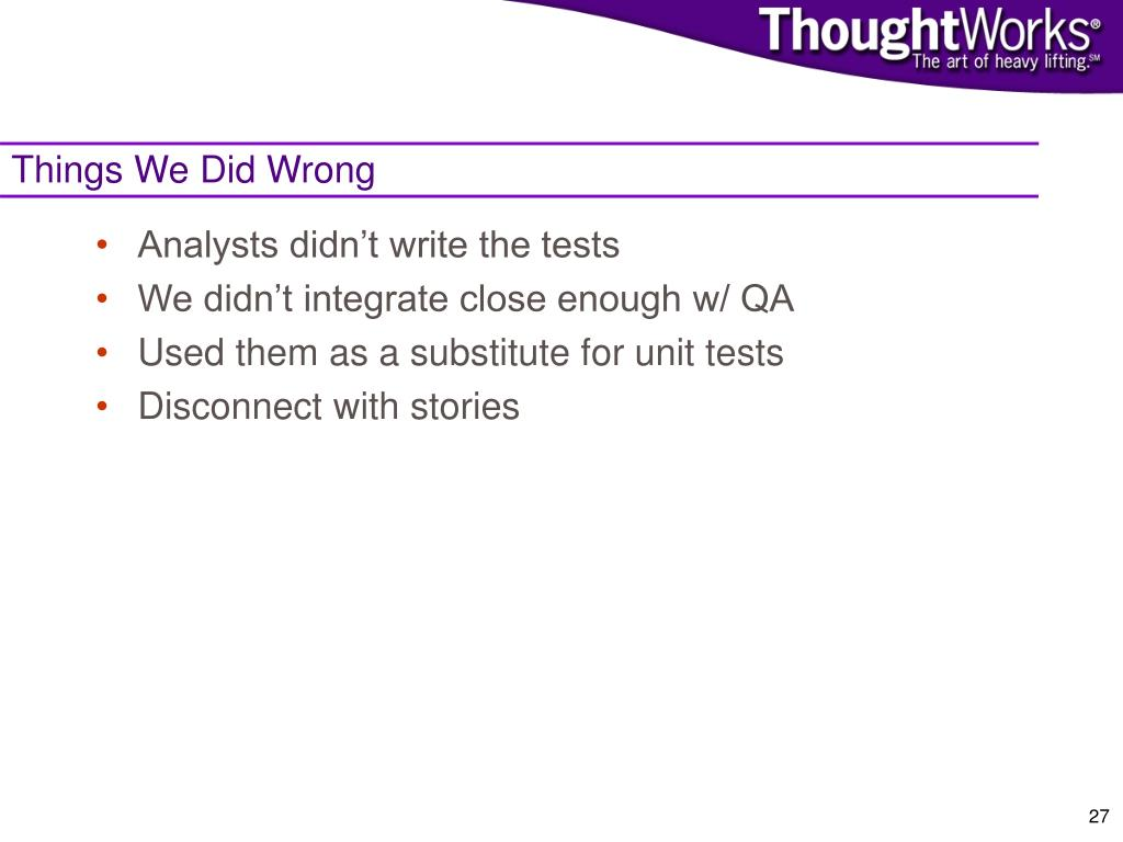 Things We Did Wrong
