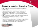 biosafety levels know the risks