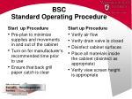 bsc standard operating procedure