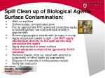 spill clean up of biological agents surface contamination