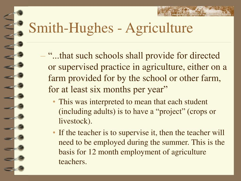 Smith-Hughes - Agriculture