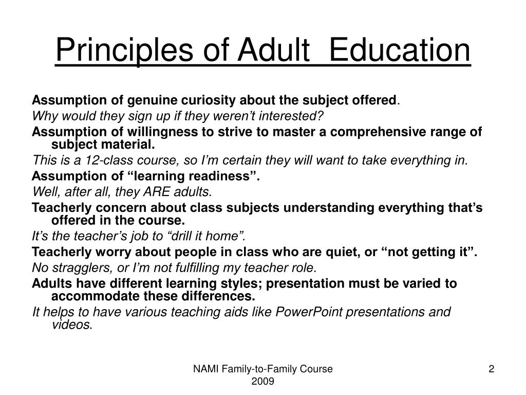 Principles of Adult  Education