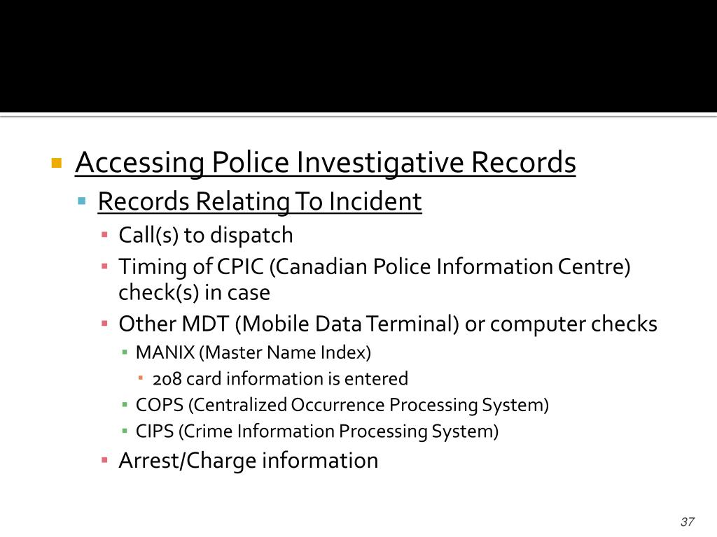 Accessing Police Investigative Records