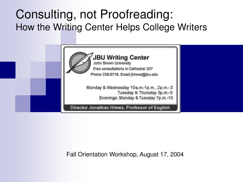 Consulting, not Proofreading: