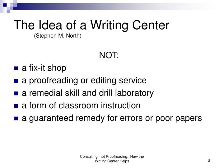 The idea of a writing center stephen m north