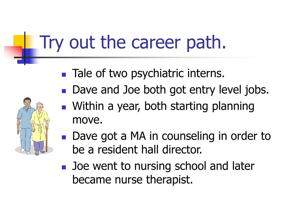 Try out the career path.
