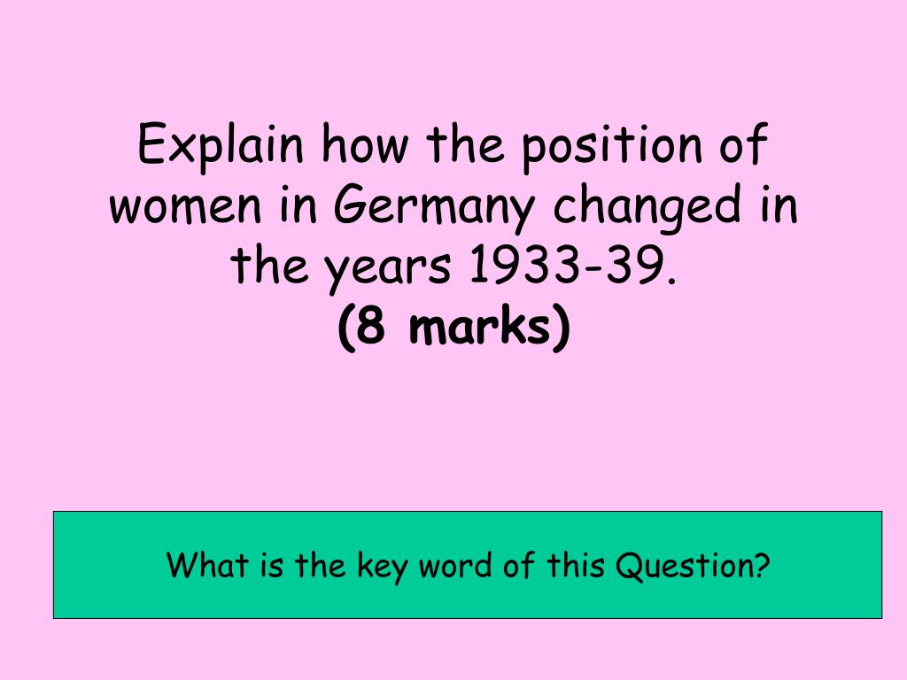 Explain how the position of women in Germany changed in the years 1933-39.