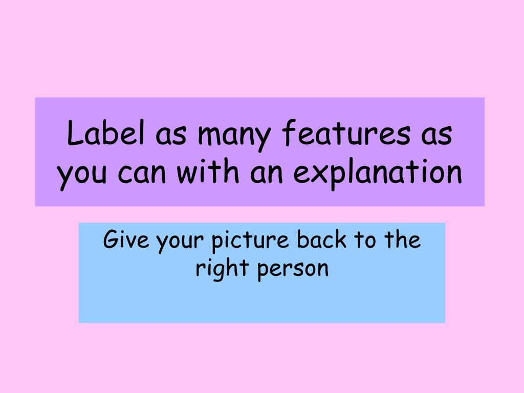 Label as many features as you can with an explanation
