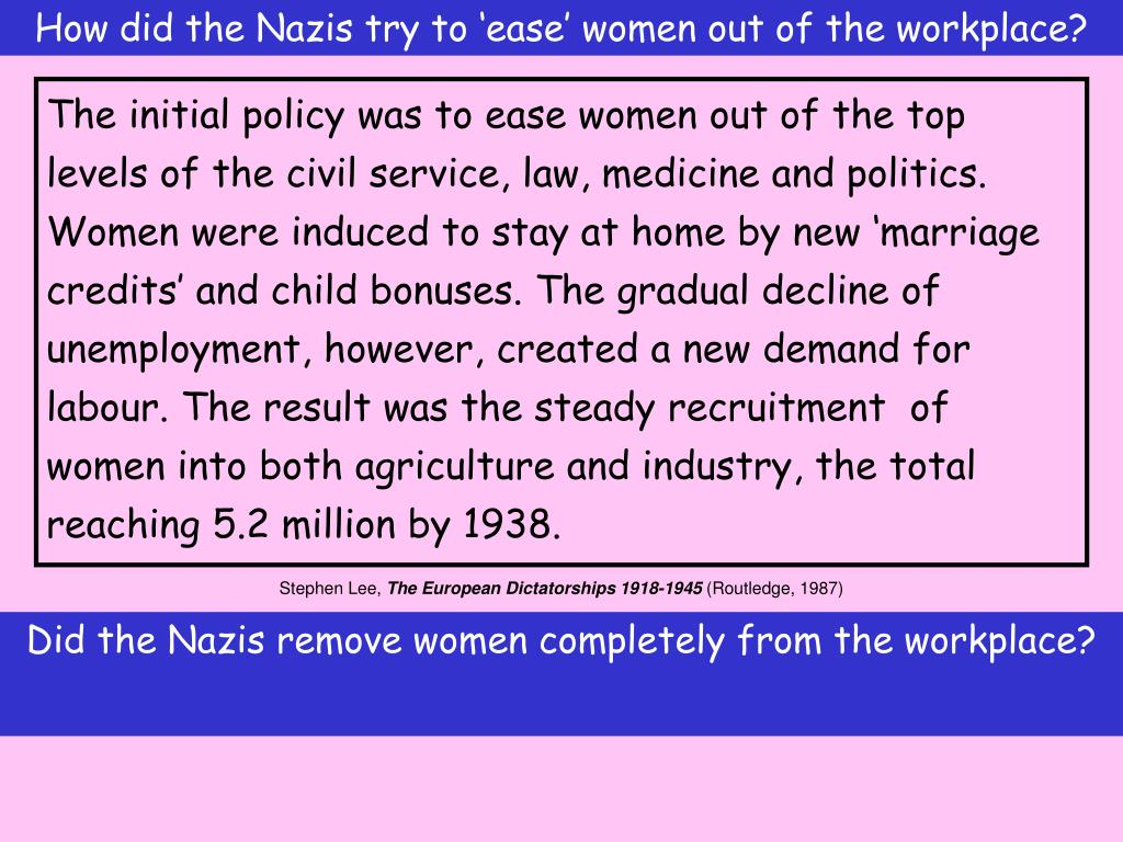 How did the Nazis try to 'ease' women out of the workplace?