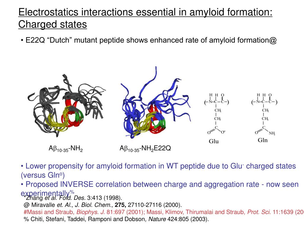 Electrostatics interactions essential in amyloid formation: Charged states