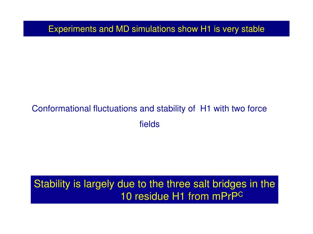 Experiments and MD simulations show H1 is very stable