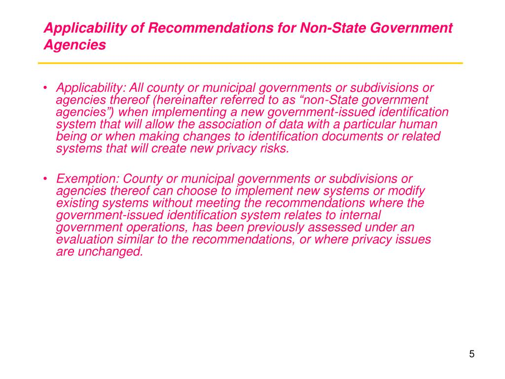 Applicability of Recommendations for Non-State Government Agencies