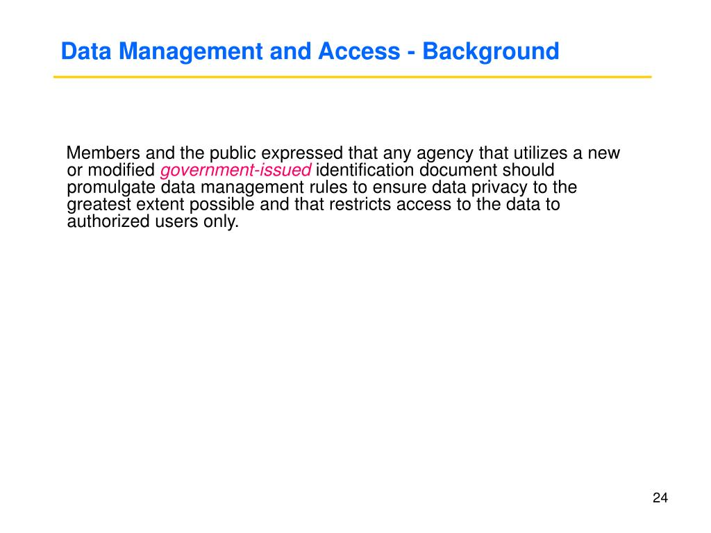 Data Management and Access - Background