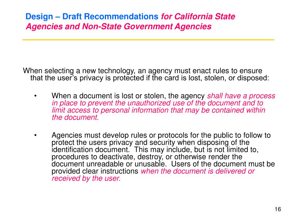 Design – Draft Recommendations